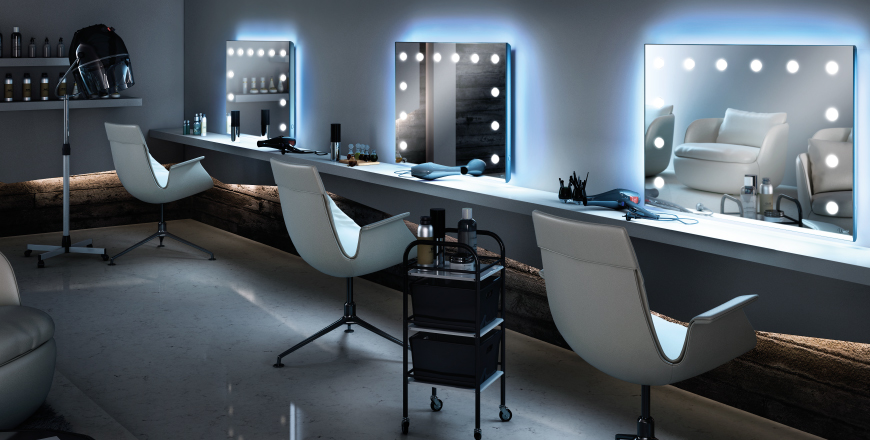 Beauty parlour with lights for salons and stores for Beauty salon mirrors with lights