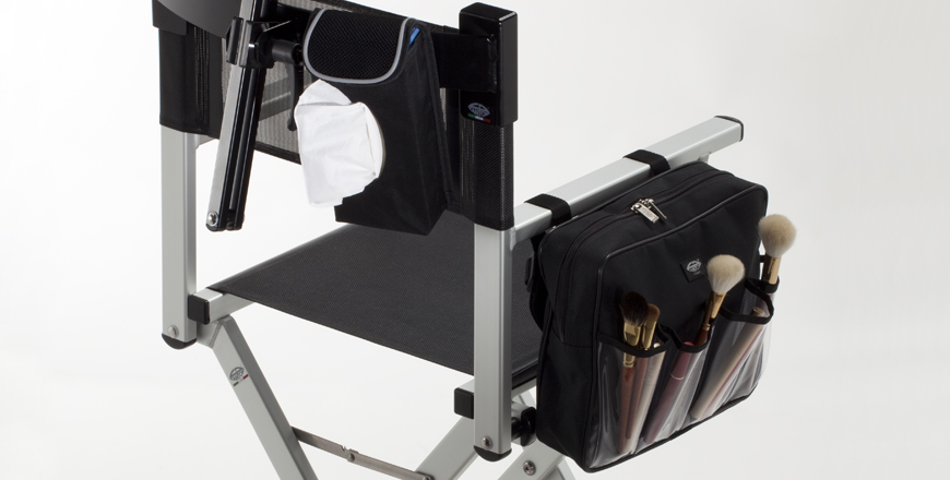 Make-up chair with tissue holder, brush bag and headrest.