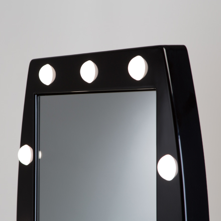 Make-up mirror with 12 lights, MDT model in black methacrylate.