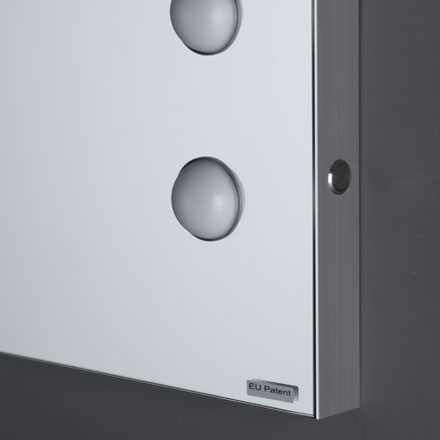 Lighted wall mounted mirror of MDE range (detail of the frame)