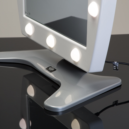 Make-up mirror with lights, MDT model in white methacrylate.