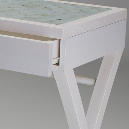 White makeup desk in wood