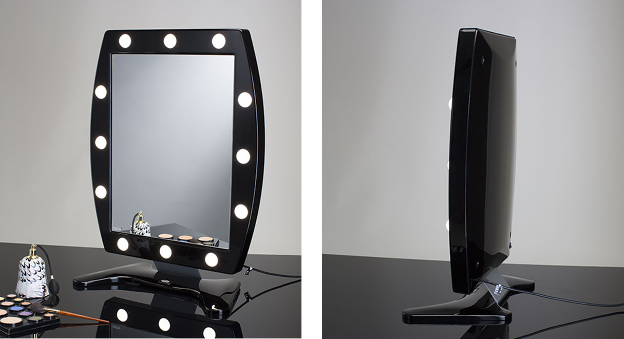Black lighted makeup mirror