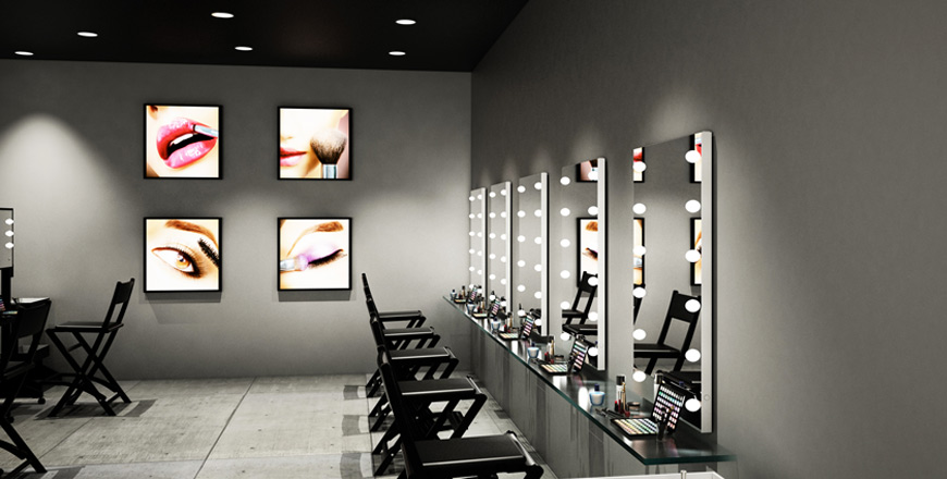 Wall mirrors with I-light technology MDE505 + Makeup chairs S104