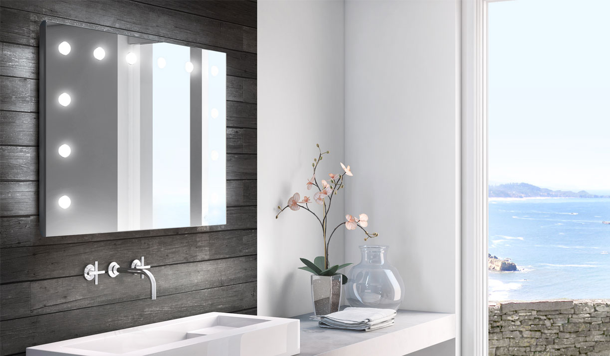 BAthroom with MH01 lighted mirror Unica by Cantoni