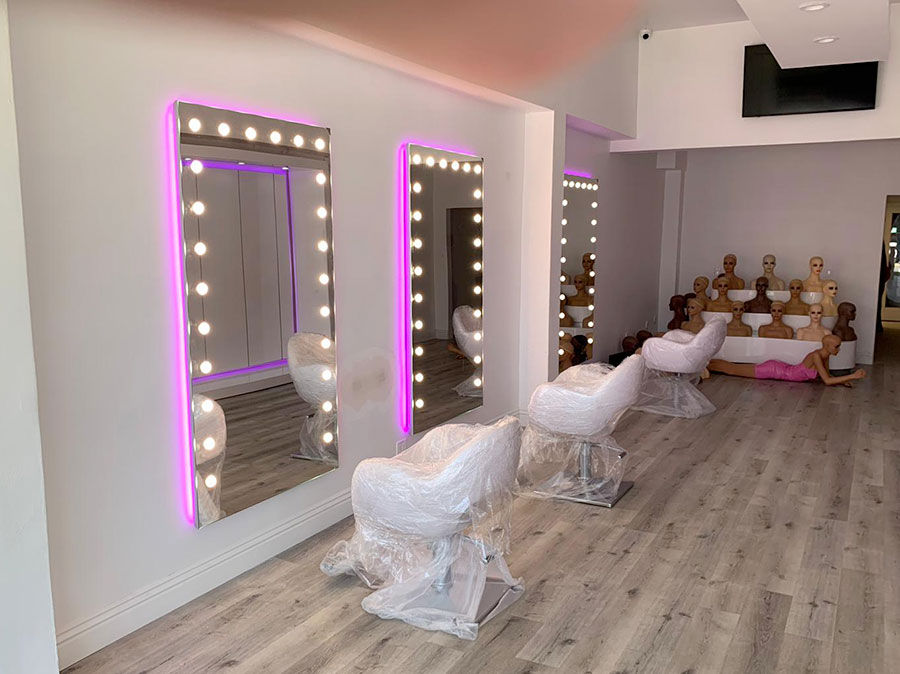 lighted mirrors made in Italy for professional hair studio in Los Angeles